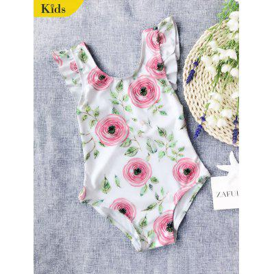 Ruffles Leaf Print Kid Swimwear