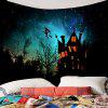 Halloween Witch Printed Waterproof Wall Hanging Tapestry - BLACK