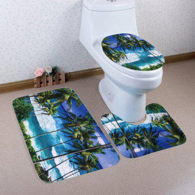 3Pcs/Set Seaside Palm Tree Fleece Toilet Rugs