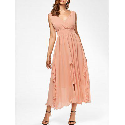 Flounce Surplice Long Chiffon Dress