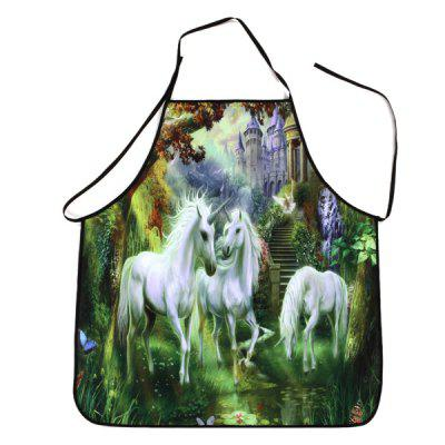 Unicorn Castle Print Waterproof Cooking Apron