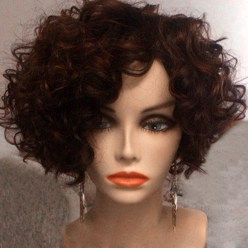 Short Side Bang Afro Fluffy Curly Synthetic