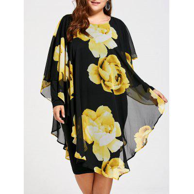 Floral Plus Size Chiffon Formal Dress