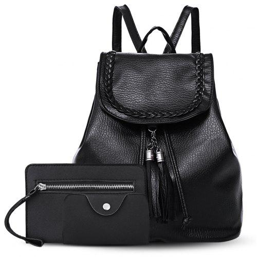 ed6885b0748c Tassel Faux Leather Backpack Set -  19.22 Free Shipping