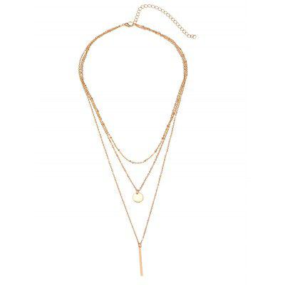 Round Disc Bar Layered Pendant Necklace