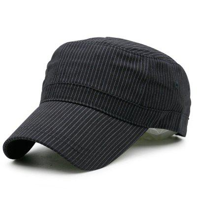 Pinstriped Flat Top Military Hat