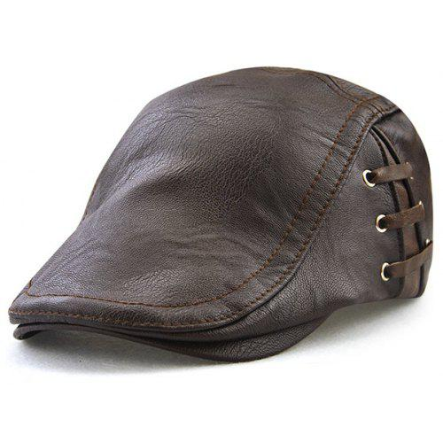 Lace Up Design Faux Leather Flat Hat -  12.09 Free Shipping 25e25a35145