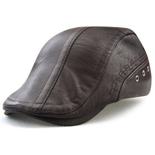 9f471a25f1a Faux Leather Round Rivet Embellished Newsboy Hat
