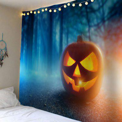 Waterproof Halloween Pumpkin Foggy Forest Wall Tapestry
