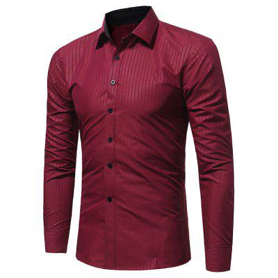 Turndown Collar Vertical Stripe Embossing Shirt