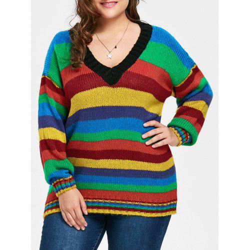 a0100fa7980 Plus Size Drop Shoulder Rainbow Striped Chunky Sweater -  42.55 Free  Shipping
