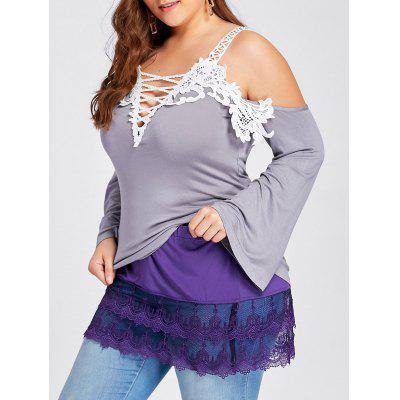 Plus Size Tiered Sheer Lace Extender Skirt