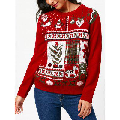 Christmas Pullover Sweater with Cartoon Ornamentation Pattern