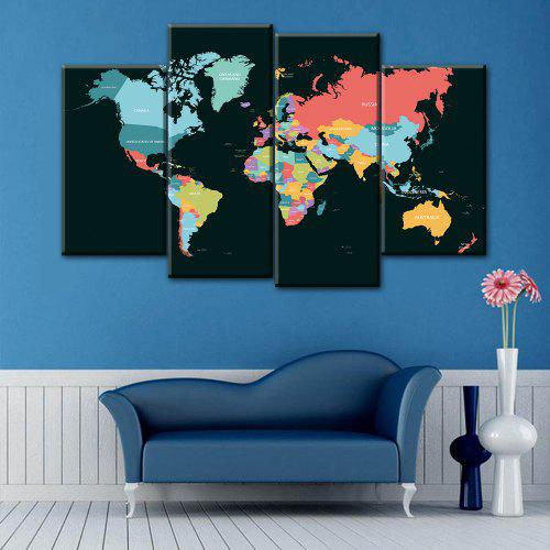World Map Print Wall Art Split Canvas Paintings | Gearbest on