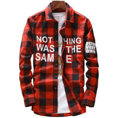 Long Sleeve Graphic Plaid Shirt