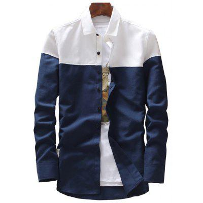 Casual Long Sleeve Two Tone Shirt
