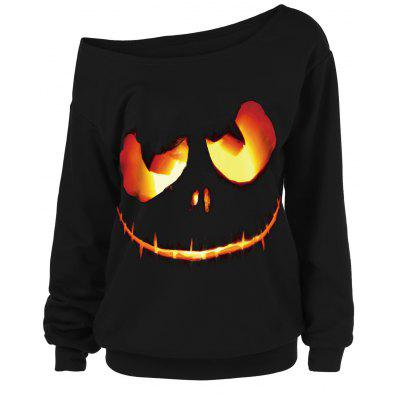Ghost Face Plus Size Skew Neck Halloween Sweatshirt