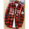 Long Sleeve Graphic Plaid Shirt - RED