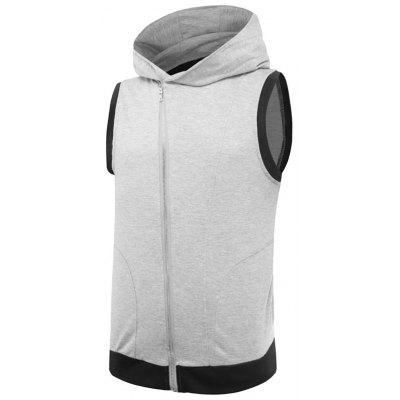 Asymmetrische Zip Up Zwei Tone Hooded Weste