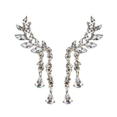 Rhinestone Angel Wing Teardrop Cartilage Earrings