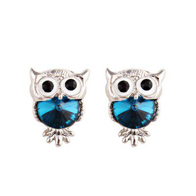 Stylish Faux Gem Owl Tiny Stud Earrings