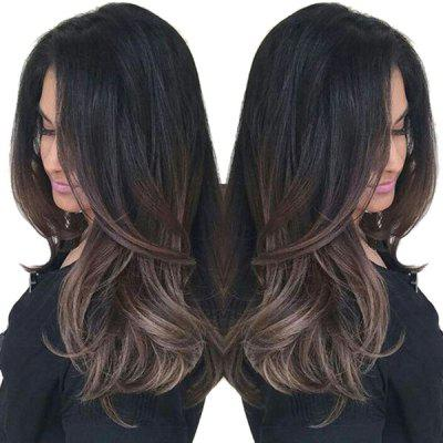 Long Side Bang Ombre Natural Straight Synthetic Wig