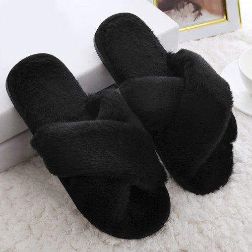 64f2f81e178b Open Toe Faux Fur Fluffy Slippers