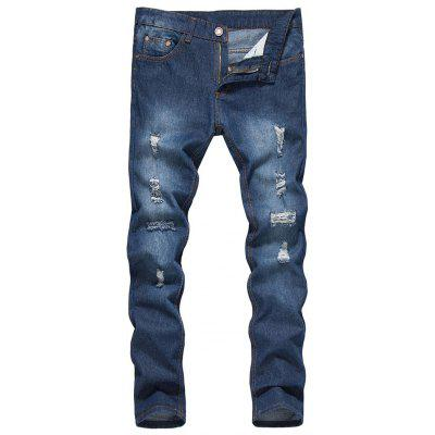 Zipper Fly Bleached Effect Distressed Jeans
