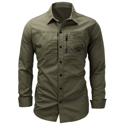 Turndown Collar Zipper Design Camisa bordada del cargo