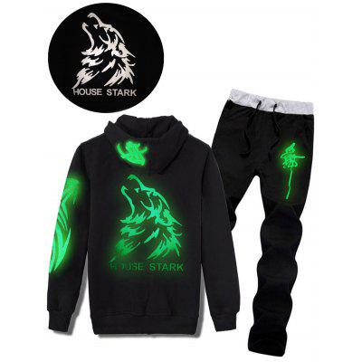 Wolf Graphic Print Luminous Hoodie and Pants Twinset