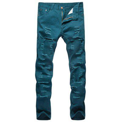 Zipper Fly Straight Leg Distressed Pants