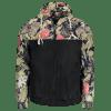 Hooded Plant Print Windbreaker Jacket - BLACK