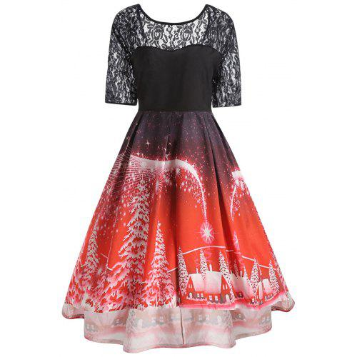 Plus Size Christmas Party Lace Panel Vintage Dress -  20.84 Free Shipping  24fab2aa12a8