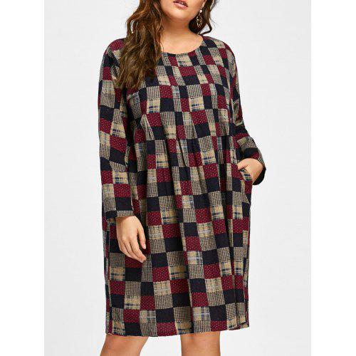Plus Size Plaid High Waist Smock Dress