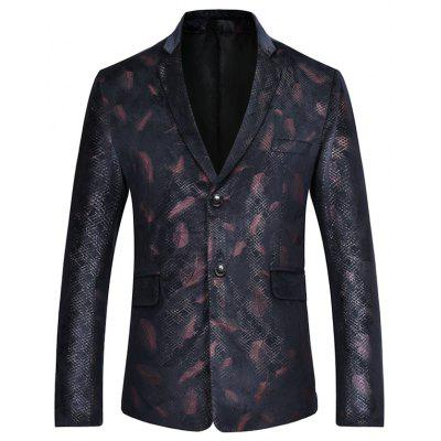 Male Fashion Fitted Feather Print Casual Blazer Design Style Suit Jacket Coat