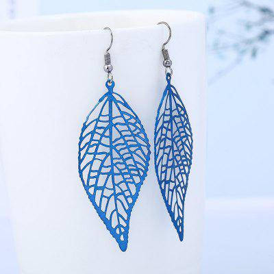Hollow Leaf Dangle Hook Earrings