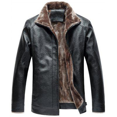 Turndown Collar Zip Up Fleece Faux Leather Jacket