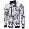 Bird and Flower Print Zip Up Jacket - WHITE