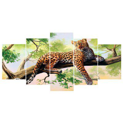 Leopard on The Tree Unframed Split Canvas Paintings