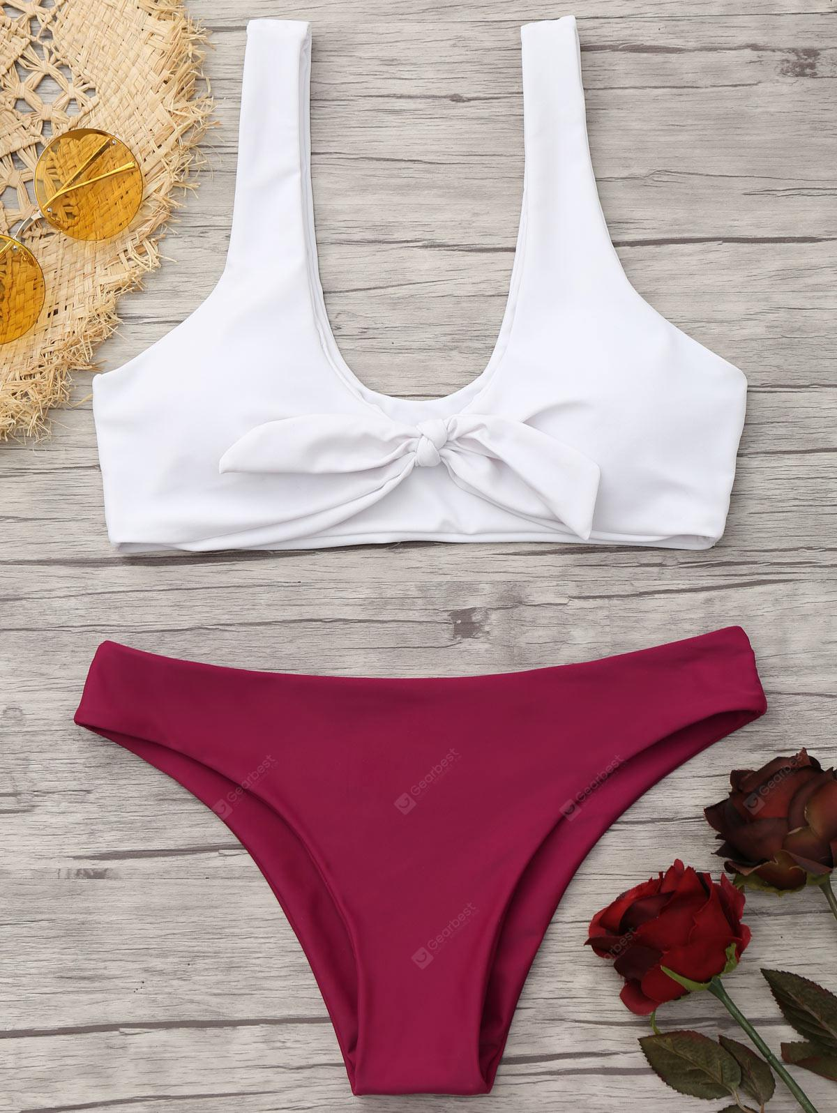 Knotted Bralette Bikini Top and Bottoms