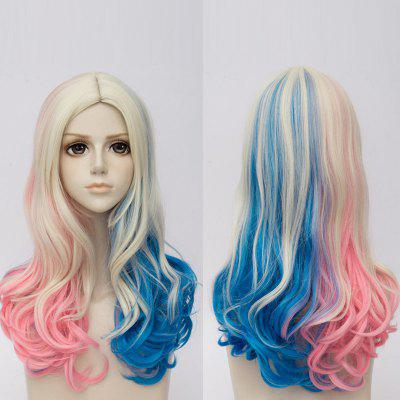 Long Middle Part Colormix Curly Suicide Squad Harley Quinn Cosplay Synthetic Wig