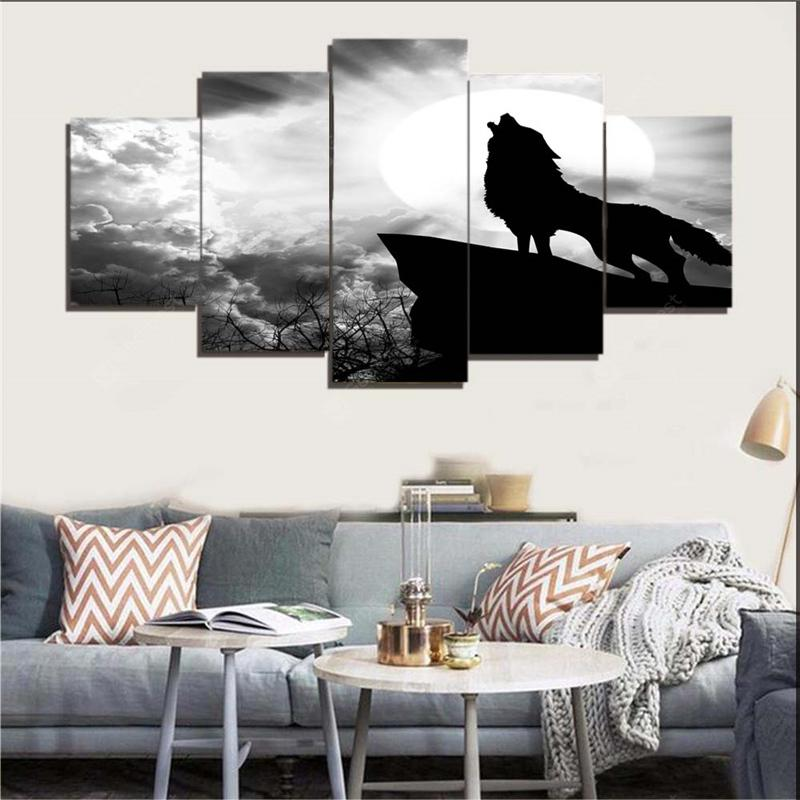 Sky Wolf Howl Print Unframed Canvas Paintings