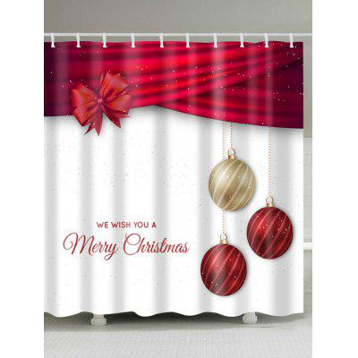 Christmas Ball Print Waterproof Polyester Bath Curtain, Printed Shower Curtains,Stall Shower Curtains,Extra Long Show Curtain,Bathroom Curtains,Bathroom Products,Fabric Shower Curtain,Polyester Shower Curtains