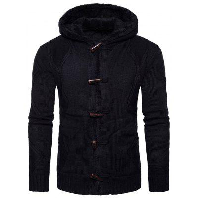 Hooded Horn Button Fleece Strickjacke