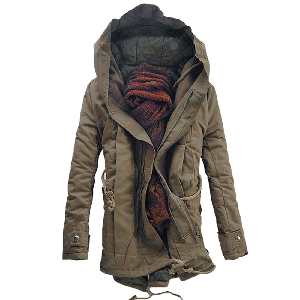 Hooded Double Zip Up Padded Parka Coat
