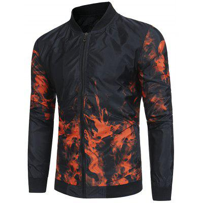 Flame Print Lightweight Bomber Jacket