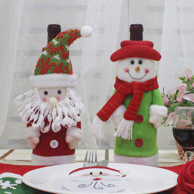 2Pcs Santa Claus e Snowman Shape Winebottle Covers