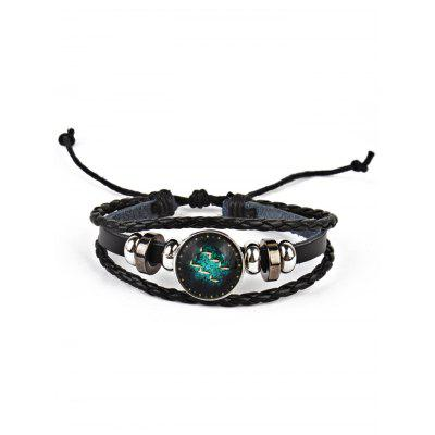 Vintage Twelve Constellations Braid Rope Bolo Bracelet