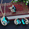 Faux Gem Peacock Teardrop Jewelry Set - GROEN