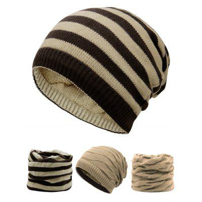 Outdoor Ponytail Hole Embellished Reversible Knit Beanie Hat